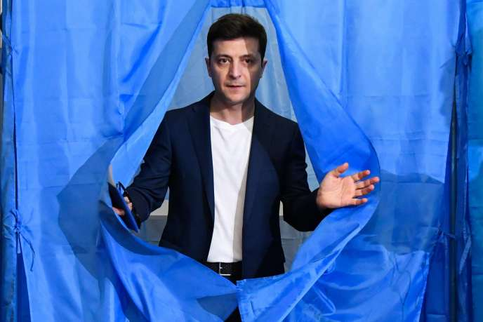 Volodymyr Zelensky leaves the polling booth on April 21 during the presidential election in Ukraine.