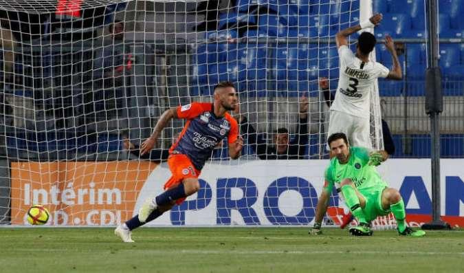 L'attaquant montpelliérain Andy Delort, le 30 avril à Montpellier.