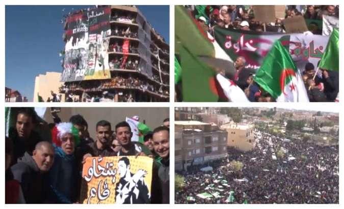 Captures d'écran de manifestations non datées àBordj Bou Arreridj, en Algérie.