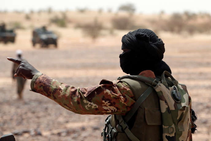 "Soldier of the Malian armed forces during a joint patrol with the French soldiers of the operation ""Barkhane"", in October 2017, in Tassiga, in western Mali."