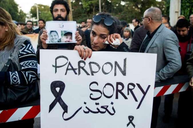 Manifestation d'empathie à Rabat, au Maroc, le 22 décembre 2018 après l'assassinat de deux touristes scandinaves, décapitées dans le Haut-Atlas quelques jours plus tôt.