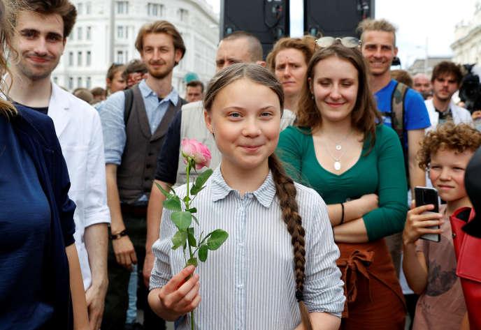 Greta Thunberg lors d'une marche« Fridays for future », pour alerter sur l'urgence de lutter contre les dérèglements climatiques, le 31 mai, à Vienne, en Autriche.
