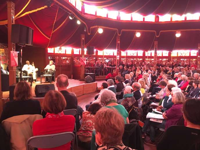 Under the marquee of the literary café of the festival Etonnants voyageurs in Saint-Malo, June 9, 2019.