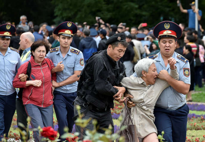 Hundreds of opposition protesters were arrested on Sunday, June 9 in Kazakhstan, as here in the city of Almaty.