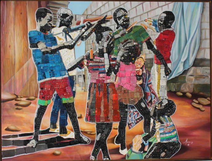 « Mauvaises fréquentations» deMounou Désiré Koffi (claviers de téléphone et acrylique sur toile, 164 cm x 124 cm, 2019).