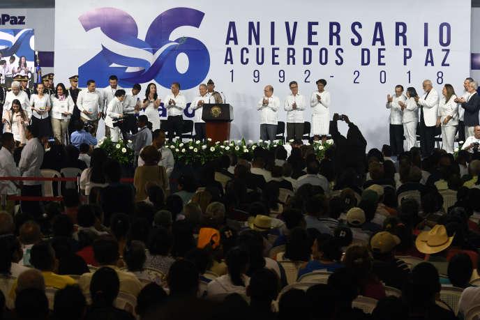 Conmemoración del vigésimo sexto aniversario de los acuerdos de paz que pusieron fin a la guerra civil en El Salvador en 1992. 16 de enero de 2018, en San Salvador.