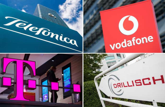 Los logotipos de los cuatro operadores (Telefónica, Vodafone, Deutsche Telekom y 1 & 1 Drillisch) compitiendo por los 41 bloques de espectro 5G puestos en venta por el regulador alemán.