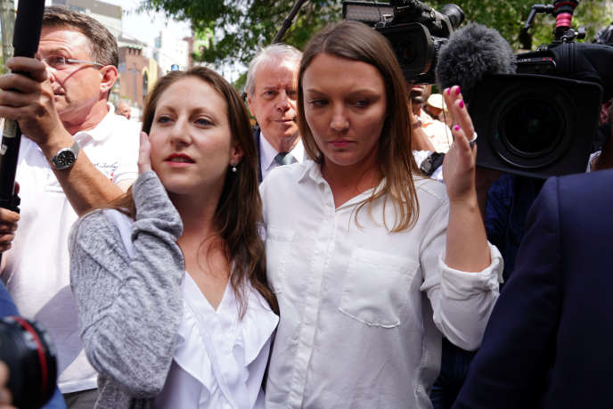 Michelle Licata and Courtney Wild, two alleged victims, leave the courthouse after the impeachment of Jeffrey Epstein.