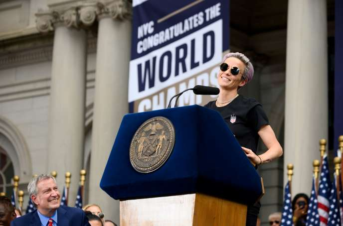 """It's our responsibility to make this world a better place,"" Megan Rapinoe said at the end of her speech on the steps of New York City Hall on Wednesday, July 10, 2019."