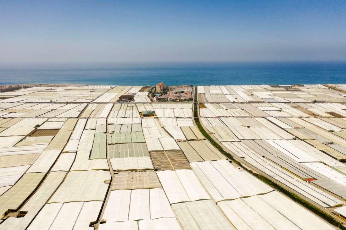 Calahonda (Espagne), le 21 juin. Le village est encerclé par des centaines de serres consacrées notamment à la culture de tomates. JULIEN GOLDSTEIN POUR « LE MONDE »