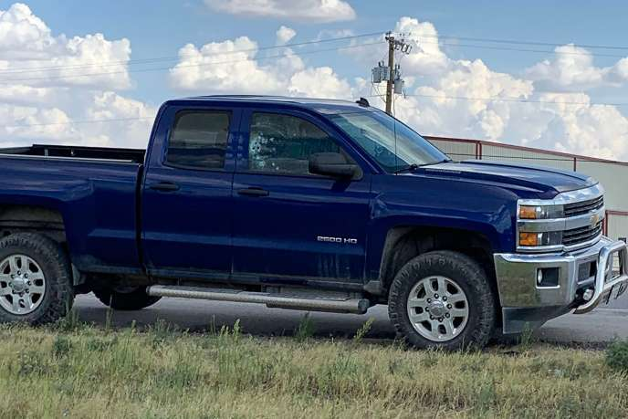 A vehicle shot at by one of the two gunmen who fired randomly on August 31 in the cities of Midland and Odessa, Texas.