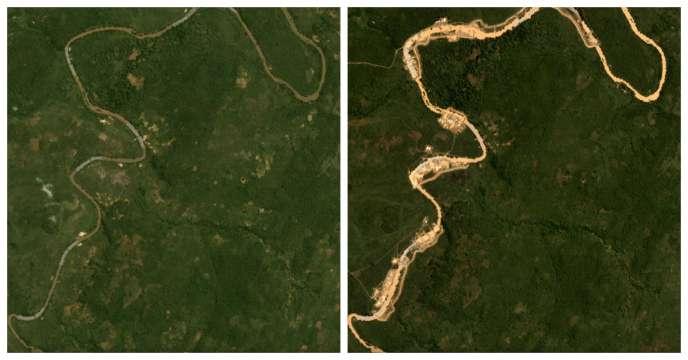 Depuis décembre 2018, une dizaine de sites aurifères ont émergé sur les rives de l'Ouham, icien juin 2018 (à gauche) et en juin 2019.