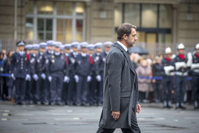 Christophe Castaner, at the ceremony in tribute to the victims of the terrorist attack of the Prefecture of Police, in Paris, October 8.