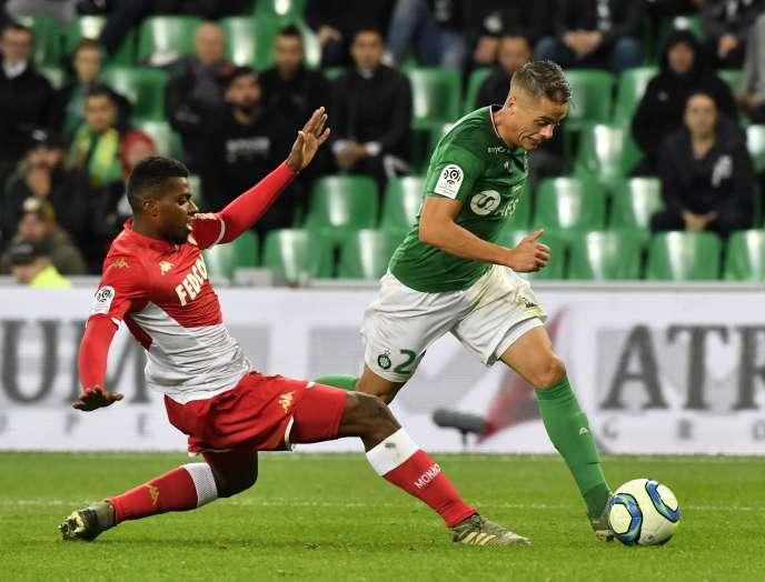Nueva victoria para los Verdes Romain Hamouma, pasador decisivo contra Mónaco, el domingo 3 de noviembre en el estadio Geoffroy-Guichard en Saint-Etienne.
