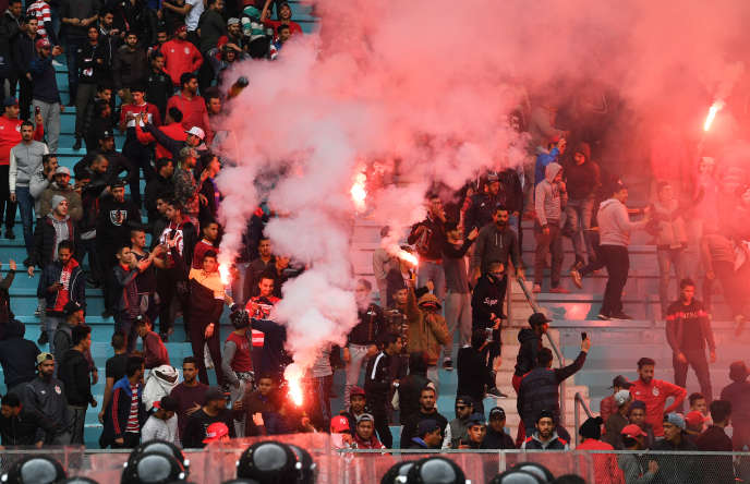Supporters of the African Club in a match against Esperance Sports, Tunis, February 18, 2018.