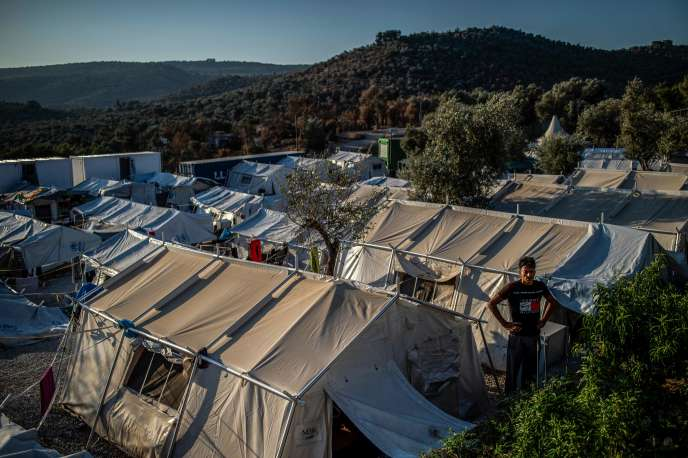Moria Migrant Camp on the Greek island of Lesbos in August 2019.