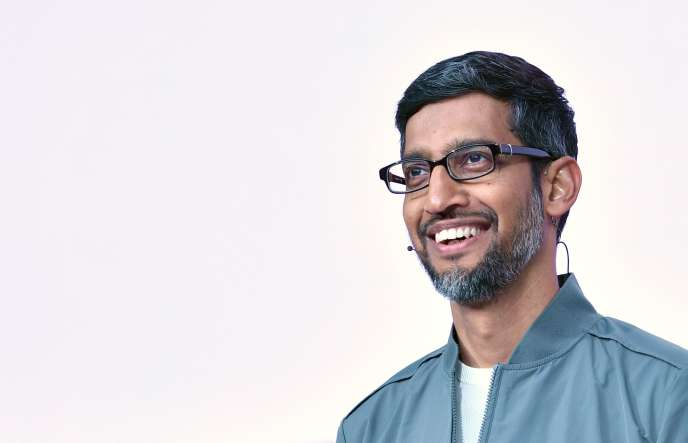 Sundar Pichai speaks from the Shoreline Amphitheater in Mountain View, California on May 7th.