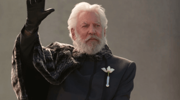 In the movies, actor Donald Sutherland plays Coriolanus Snow.