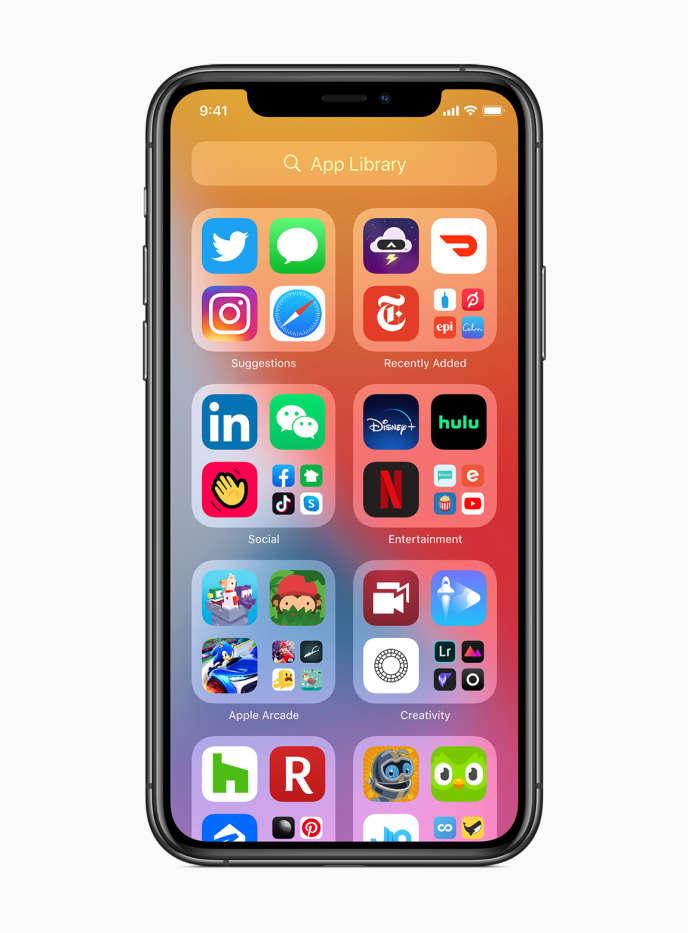 Le nouveau tiroir d'applications de iOS14 qui fera son apparition dans les menus de l'iPhone fin 2020.