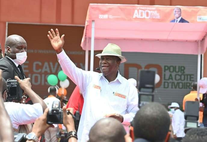 Le président Alassane Ouattara lors de la cérémonie d'investiture par son parti pour l'élection présidentielle, le 22 août à Abidjan