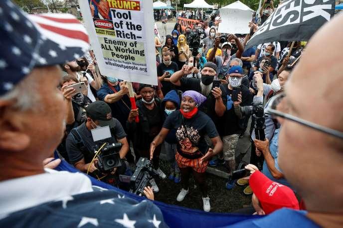 Altercation entre des manifestants et des partisans de Donald Trump lors de la visite du président à Kenosha (Wisconsin), le 1er septembre.