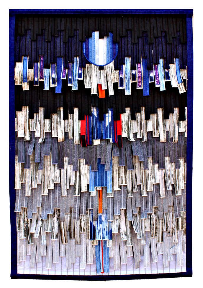 « Composition en gris bleu à la Lune», d'Abdoulaye Konaté. Tableau en textile (217 cm x 145 cm). Prix de départ : 29 000 euros.