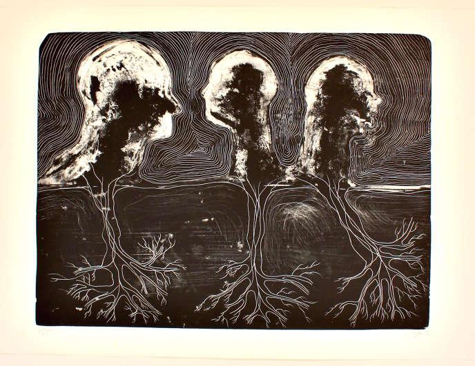 « Back to Illusion», de Barthélémy Toguo. Lithographie, 2009 (70 cm x 100 cm). Tirage à 36 exemplaires. Prix de départ : 1 000 euros.