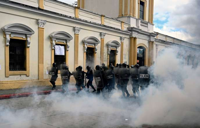 Police were mobilized in Guatemala City on Saturday, November 21.