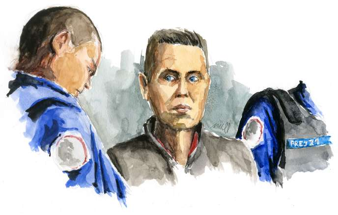 A sketch by Jonathann Daval at the time of the verdict on Saturday, November 21.