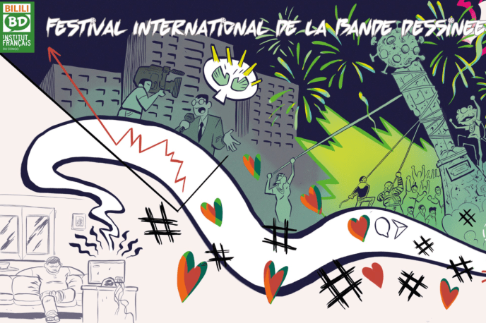L'affiche du festival de bande dessinée Bilili à Brazzaville, au Congo, conçue par l'artiste sénégalais Juni Ba.