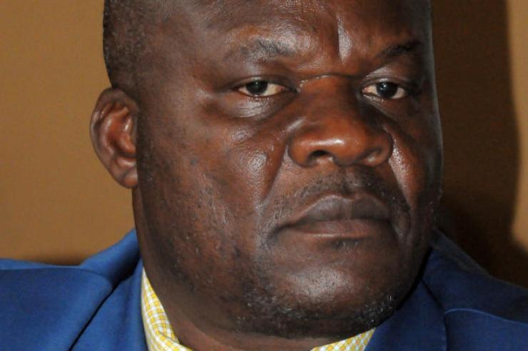 Roger Lumbala à Kampala, en janvier 2013, à l'époque où il étaitvice-président du mouvement rebelle M23.