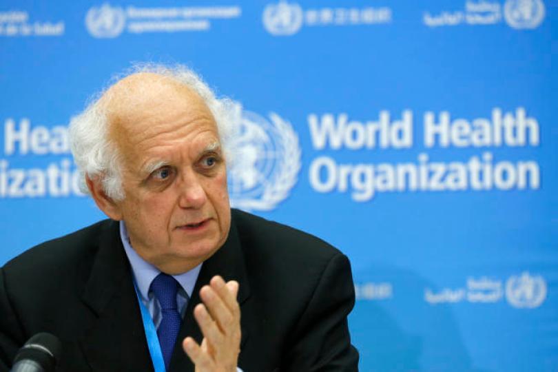 Didier Houssin, lors d'une conférence de presse à Genève le 22 janvier 2020.