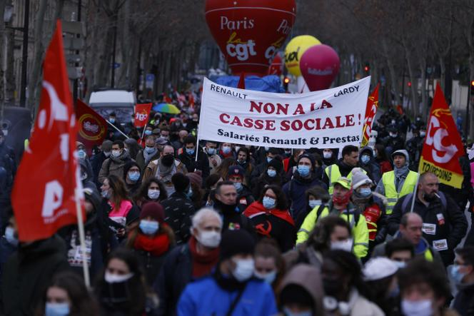 During the demonstration against the ban on dismissals in France, in Paris, Saturday January 23.