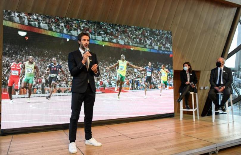 Le président de Paris 2024, Tony Estanguet, lors d'une conférence sur les Jeux olympiques et paralympiques, le 1er octobre 2020 à Paris.