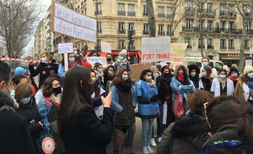 Manifestation de sages-femmes, à Paris, le 26 janvier 2021.