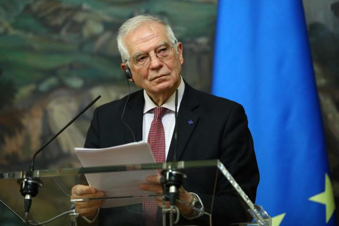 The High Representative of the European Union for External Affairs, Josep Borrell, at the press conference in Moscow alongside Sergei Lavrov, the Russian Minister for Foreign Affairs, in Moscow on February 5.