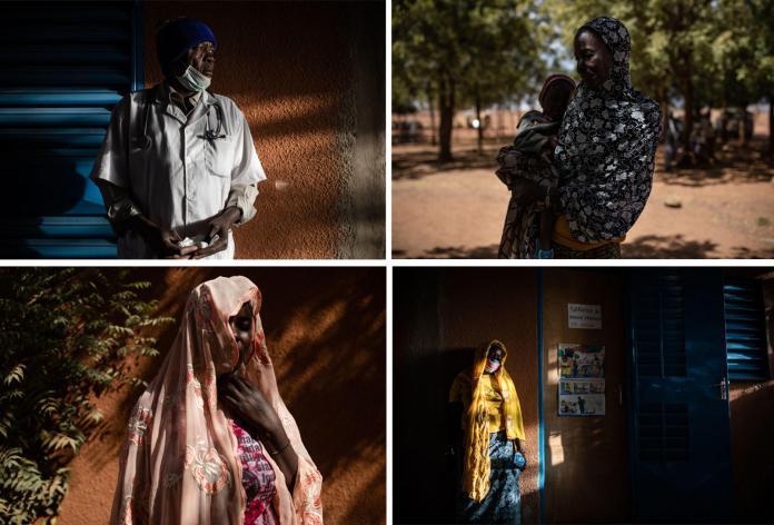 De gauche à droite et de haut en bas : 1 - Joseph Badini, assistant de santé mentale au centre médical de Kongoussi, dans le centre-nord du Burkina Faso. 2 - Maïmouna (le nom a été changé), 55 ans, est tombée en dépression lorsque que son mari l'a abandonnée à la suite des violences dans son village, Kiella. Seule, dans une situation précaire, avec désormais 13 enfants à sa charge, elle a pensé mettre fin à ses jours. 3 -Asseta (le nom a été changé), 28 ans, souffre de «dépression sévère » depuis l'attaque de son village par des hommes armés. 4 -Au centre médical de Kongoussi, devant le bureau de l'assistant de santé mentale Joseph Badini.Les 10 et 12 février 2021.