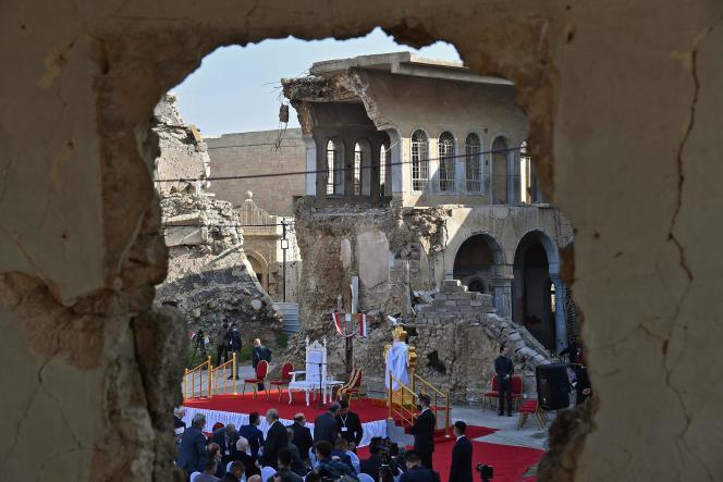 Les ruines de l'église de l'Immaculée Conception (Al-Tahira Al-Kubra), à Mossoul, le 7 mars.