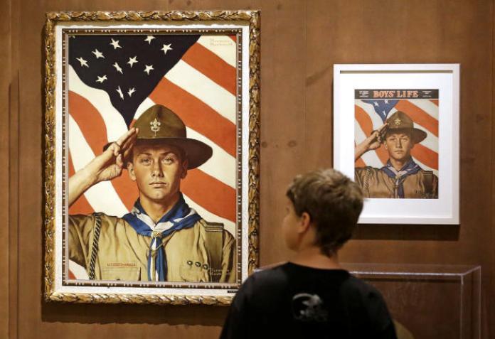 Exposition de toiles de Norman Rockwell appartenant aux Boy Scouts of America, au musée d'histoire de l'Église mormone, à Salt Lake City (Utah), en 2013.