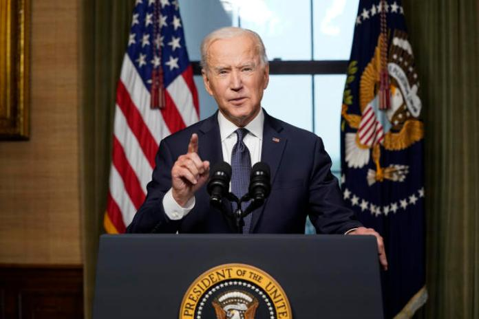 Joe Biden annonçant le retrait des troupes américaines d'Afghanistan le 14 avril, depuis la Maison Blanche.