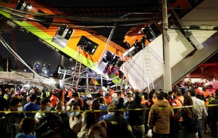 L'accident s'est produit près de la station Olivos, sur la ligne 12 du métro dans le sud de Mexico, lundi 3 mai 2021.