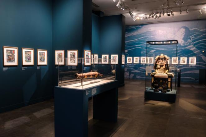 Vue de l'exposition « Voyage sur la route du Kisokaido. De Hiroshige à Kuniyoshi », au Musée Cernuschi, à Paris.