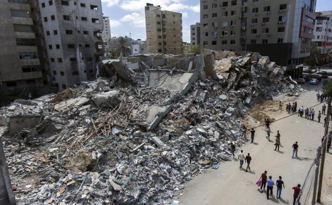 Photo prise par drone le 22 mai 2021 de l'immeuble qui abritait les bureaux de l'agence Associated Press et de la chaîne Al-Jazira, détruit par un tir israélien le 15 mai.