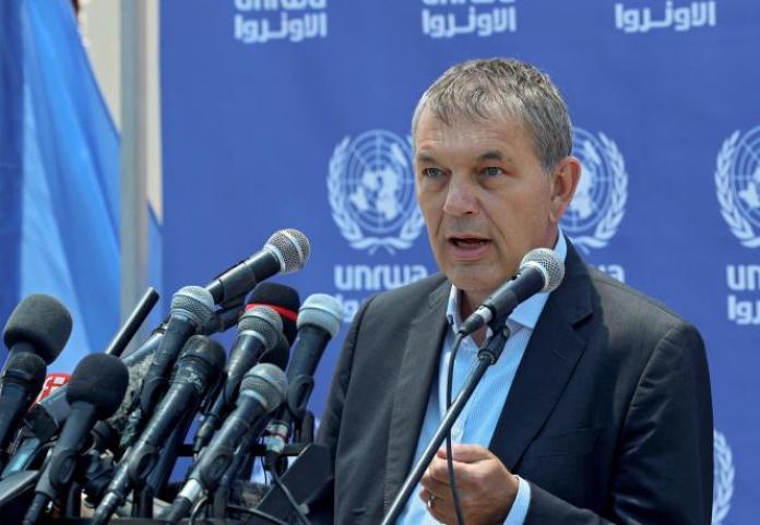 Philippe Lazzarini, commissaire général de l'Office de secours et de travaux des Nations unies pour les réfugiés de Palestine dans le Proche-Orient (UNRWA), s'exprime lors d'une conférence de presse au complexe des Nations unies dans la ville de Gaza, le 23mai 2021.
