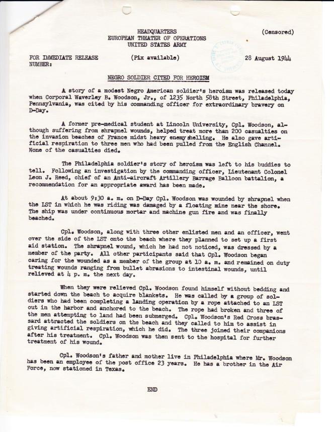 Un rapport de l'armée décrivant les actions de Waverly Woodson sur Omaha Beach.
