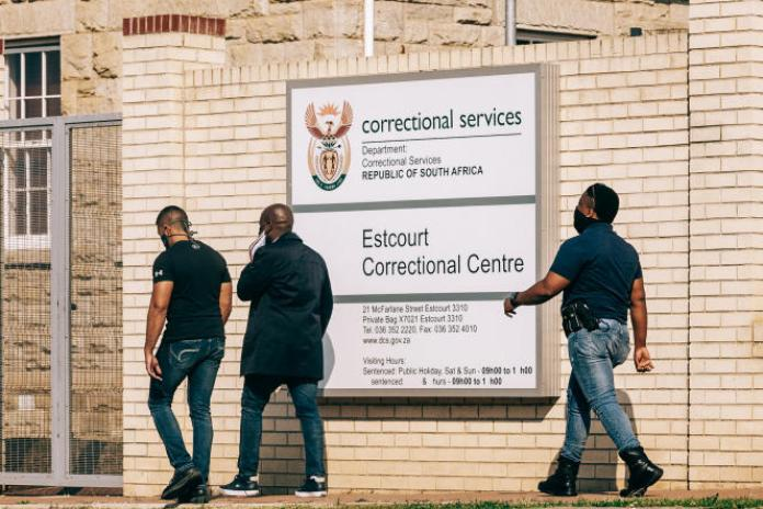 L'entrée de la prison d'Estcourt, où l'ancien président sud-africain Jacob Zuma a commencé à purger sa peine de quinze mois pour outrage à la Cour constitutionnelle, le 8 juillet 2021.