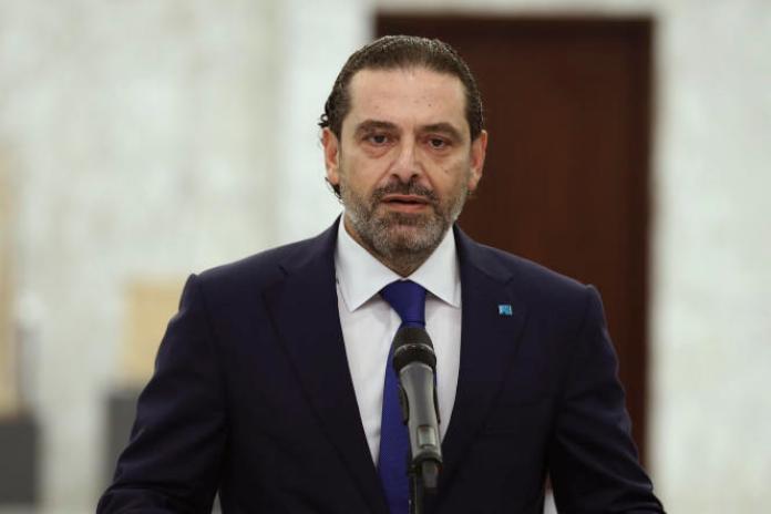 Le premier ministre Saad Hariri, après sa rencontre avec le président Michel Aoun, àBaabda, au Liban, le 15 juillet 2021.