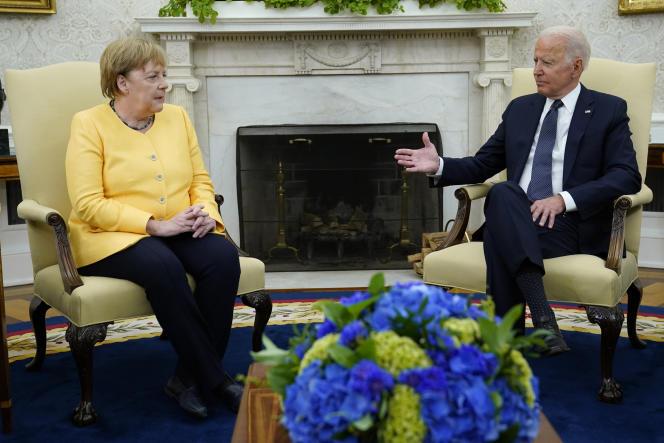 Bundeskanzlerin Angela Merkel und US-Präsident Joe Biden am 15. Juli 2021 im Weißen Haus in Washington.