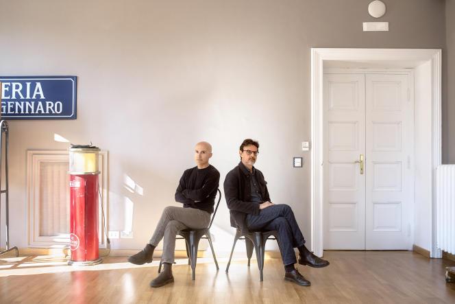 Lorenzo Mieli (a sinistra), Amministratore delegato dell'Appartamento, e Mario Gianani, Amministratore delegato di Wildside, società Fremantle, a Roma, 4 marzo 2021.