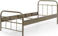 Bed 90x200 cm taupe metal Boston